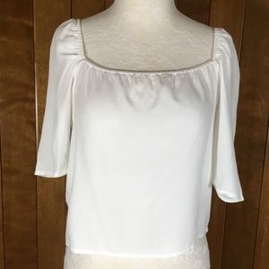 Fanco White Backless short a Sleeve Crop Top